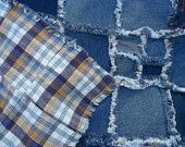 Up-cycled jeans denim quilt, faux chenille seams; gold, white, purple and blue plaid backing