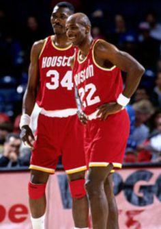 Two of the original Phi Slama Jama's - Hakeem and Clyde reunite on the Houston Rockets