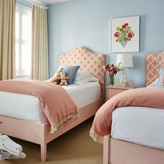 Precious twin girl bedrooms by Richmond-based designer Lizzie Cox of Suellen Gregory Interior Design. The color scheme is perfect and . Twin Girl Bedrooms, Little Girl Rooms, Girls Bedroom, Pink Bedrooms, Small Bedrooms, Home Bedroom, Bedroom Decor, Bedding Decor, Floral Bedding