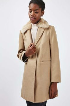 Fur Collar Boyfriend Coat | Topshop