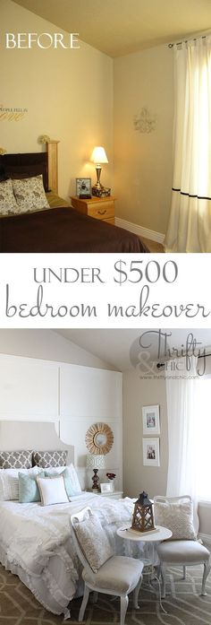 Master bedroom makeover for under $500. Great DIY ideas!