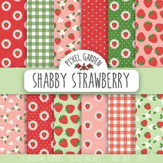 Shabby Strawberry Digital Paper Pack. Cottage Chic Scrapbooking Paper. Strawberry Digital Collage Sheet. Summer Digital Paper.