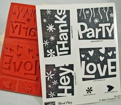 """Stampin Up Stamp Set """"Word Play"""" Rubber Stamps, Scrapbooking, Card Making, Collage Retired and Mint Stampin Up"""
