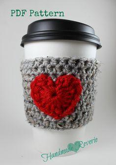 PDF Pattern Heart Cup Cozy Crochet Pattern by Handmade Reverie
