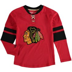 Chicago Blackhawks CCM Youth Vintage Long Sleeve Jersey Crew T-Shirt - Red - $31.99