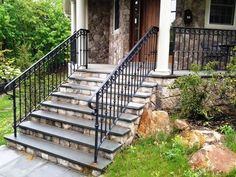 Impressive Black Wrought Iron Porch Railings For Farmhouse Design Ideas  With Stone Steps And Rock Garden