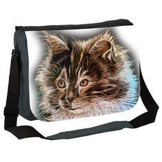 Fluffy Cute Kitten  Messenger Bag by simon-knott-fine-artist at zippi.co.uk