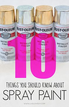 10 things you should know about spray paint! Really good spray painting tips! Spray Paint Tips, Spray Painting, Painting Tips, Do It Yourself Wedding, Do It Yourself Home, Do It Yourself Furniture, Diy Furniture, Painting Furniture, Antique Furniture