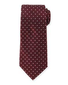 N3FP4 Armani Collezioni Small Medallion-Print Silk Tie, Wine