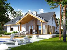 Zdjęcie projektu Simon energo plus Modern Lake House, House With Porch, Iron Doors, Home Fashion, Windows And Doors, Beautiful Homes, Gazebo, Living Spaces, House Plans