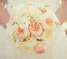 Love the mix of blush, peach & cream