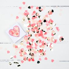 heart shaped confetti in a box  sc 1 st  Pinterest & Heart Shaped Foil Party Plates Serve up some LOVE-ly treats on this ...