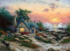 Cottage by The Sea painting -