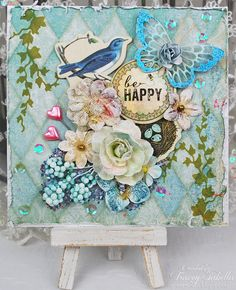 Scraps of Elegance scrapbook kits: Tracey Sabella created this beautiful shabby chic Spring card with our Jan. Adore Kit  Subscribe to our kits and receive a new box of mixed media scrapbooking fun delivered to you each month. www.scrapsofdarkness.com