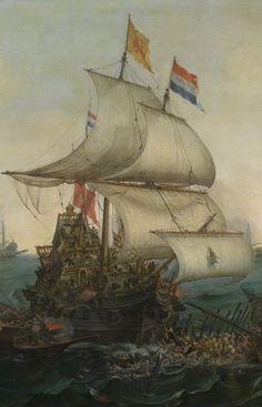 Dutch ships ramming Spanish galleys off the English coast, 3 October 1602 By Hendrik Cornelisz. Vroom, 1617, detail