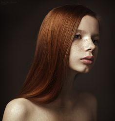 Although I'm fascinated with B&W white pictures of freckles, I love the purity and innocence of this colour shot.