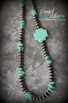 """""""Rio""""-Black/Silver Beaded Western Necklace with Turquoise Cross (w/earrings)"""