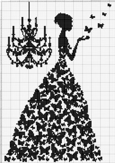 I would do it with different colour for each butterfly Wedding Cross Stitch Patterns, Funny Cross Stitch Patterns, Modern Cross Stitch, Cross Stitch Designs, Cross Stitch Cards, Cross Stitching, Cross Stitch Embroidery, Hand Embroidery, Cross Stitch Silhouette