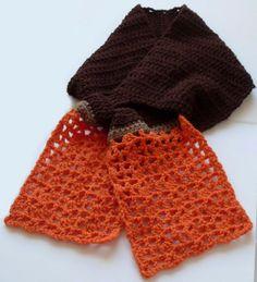 Beautiful chocolate and orange keyhole #crochet scarf pattern - free!