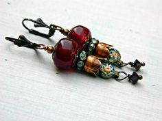 Red Bohemian Lampwork earrings with Micro Mosaic Charms, Red Glass bead earrings, Assemblage Gypsy earrings, Crimson and Copper dangles,