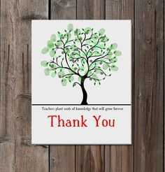 Teacher Appreciation gift Fingerprint Tree Children's by Words2Art, £2.50
