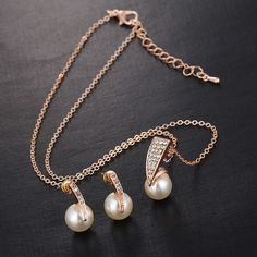Imitation Pearl Gold Jewelry Sets Charm Jewelry Outfit Accessories From Touchy Style Pearl Jewelry, Silver Jewelry, Silver Earrings, Pearl Earrings, Pearl Necklaces, Pendant Jewelry, Jewelry Rings, Hoop Earrings, Fashion Bracelets