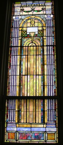 Stained glass windows in the sanctuary of First Baptist Church Morristown, TN