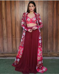 Exclusive Bollywood Inspired Sara Ali Khan in Maroon Coloured Beautiful Printed Top With Matching Palazzo. The Palazzo is Fully Stitched .It Comes with matching koti which is semi-stitched and can be Customised According to your Style and Fit. Indian Fashion Trends, Indian Designer Outfits, Designer Dresses, Dress Indian Style, Indian Dresses, Pakistani Dresses, Indian Wedding Outfits, Indian Outfits, Indian Attire