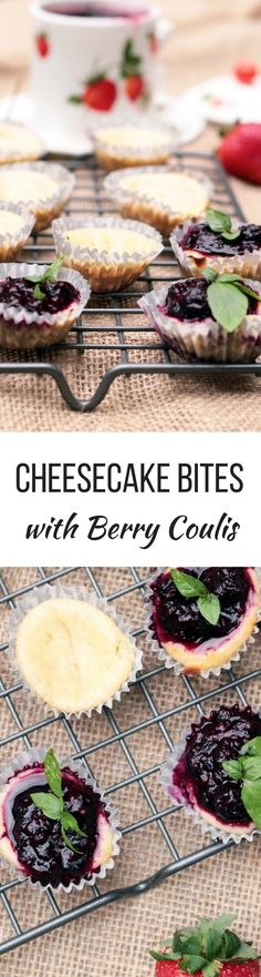 Cheesecake bites with berry coulis are mini desserts that satisfy a sweet tooth and fit into a healthy lifestyle.