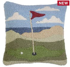 "Golf By The Sea 18"" Hooked Wool Pillow - Chandler 4 Corners"