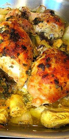 Baked Artichoke Chicken . . .won best recipe on The Chew. I've decided to marinate my chicken for a day or two so hopefully this is even better!