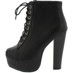 JORDON09 BLACK LACE UP PLATFORM HEEL ANKLE BOOT (€15) ❤ liked on Polyvore featuring shoes, boots, ankle booties, heels, black flats, lace-up wedge booties, lace up ankle boots, ankle boots and lace up booties