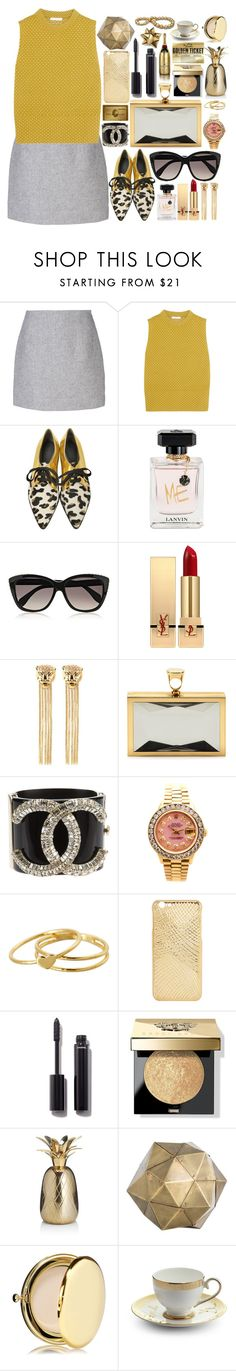"""""""gold"""" by dzchocolatess ❤ liked on Polyvore featuring Atto, Chloé, Marni, Lanvin, Alexander McQueen, Yves Saint Laurent, Roberto Cavalli, Tom Ford, Chanel and Rolex"""