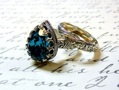 Gothic Meval Vintage Sterling Silver Blue Zircon Swarovski Crystal Ring With Matching Fl Band From Etsy