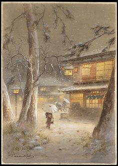 Teraujchi--Night Winter Town Scene