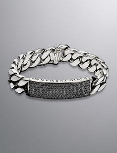 Curb Chain ID Bracelet, Black Diamond, 14.5mm