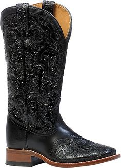 Boulet Torino Calf Black Tooled Wide Square Toe Cowgirl Boots