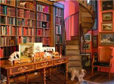 When I grow up, I want a library like this in my house... Minus the stupid pictures and the table. I mostly want the shelves and the spiral book case. :)