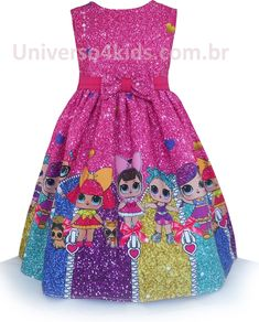 b1282ad6e7 Vestido de Festa Infantil Boneca LoL Surprise