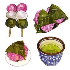 Green tea, sakura mochi and hanami dango #illustration #watercolours #wagashi…