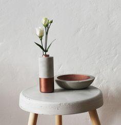 Vase+und+flache+Schale+aus+Beton+im+Set+von+juste+béton+auf+DaWanda.com