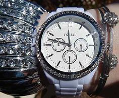 NEW WOMEN'S Fossil WATCH BQ1194 BIG Face Silver BLING Bezel White Resin Band #fossil #fossilwatch