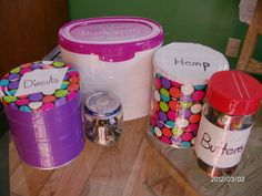 Rethink containers! Re-purpose Baby food jars, Baby formula cans, empty seasoning bottles, etc. Here I used colorful duct tape to wrap the containers that hold my art supplies. Very easy