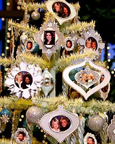 Ornaments with photos of your friends and family are a great way to decorate your Christmas tree.