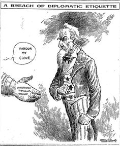[March 31, 1917] Editorial cartoon: 'A Breach of Diplomatic Etiquette' ─ Chicago Tribune : 100yearsago