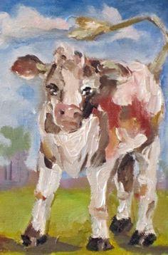 Calf, farm animal painting -- Delilah Smith