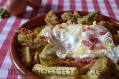 @mirecetario nos llena el #recetariomañoso de #caprichos Huevos rotos con alcachofas en tempura al limón