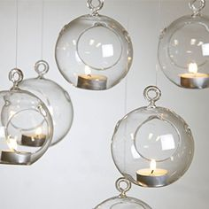 HANGING GLASS BAUBLE TEALIGHT CANDLE GARDEN DECORATION