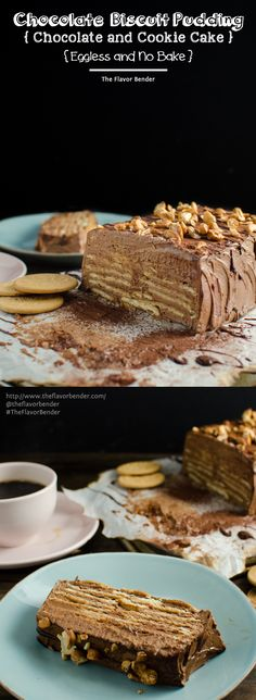 Eggless Chocolate Biscuit Pudding (No Bake Chocolate Cookie Cake) - An easy, classic Sri Lankan dessert with alternating layers of milk-soaked Maria cookies and soft, creamy chocolate buttercream.