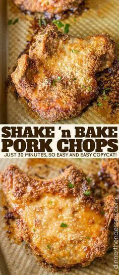 Shake and Bake Pork Chops with homemade shake and bake mix baked on a sheet pan. A perfect homemade natural copycat with dinner done in just 30 minutes. Perfect Shake 'n Bake Copycat! in pork chop recipe Shake and Bake Pork Chops - Dinner, then Dessert Pork Chop Recipes, Meat Recipes, Cooking Recipes, Healthy Recipes, Dinner Recipes With Pork Chops, Snacks Recipes, Meals With Pork Chops, Pork Chop Meals, Cooking Ideas